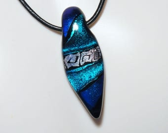 Fused Dichroic Glass Pendant...COLORFUL...Dichroic Pendant...Pendant with Channel
