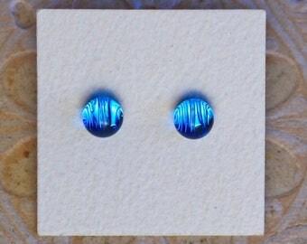 Dichroic Glass Earrings, Petite, Azure  DGE-1193