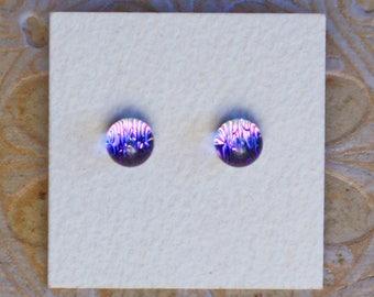 Dichroic Glass Earrings , Petite, Magenta, Lavender Gray Green  DGE-1209