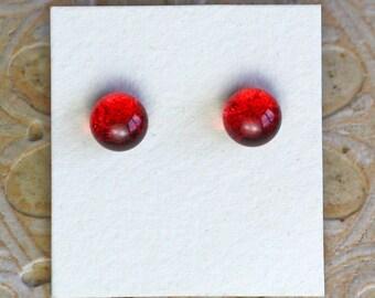 Dichroic Glass Earrings, Crimson Red  DGE-1286
