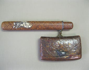 Antique Japanese INRO tobacco pouch wallet and pipe case