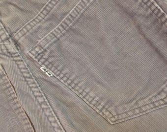 Vintage 70s Levi's Levis Gray Corduroy Hippy Boho Style Bellbottom Pants Mens