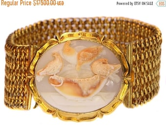 ON SALE Antique Victorian cameo bracelet 14k yellow gold Doves of Pliny Sosus of Pergamon Italian engraved cameo English goldsmith fine jewe