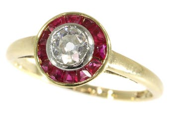 Round center diamond ruby ring 18k yellow gold old European cut diamond .25ct circle rubies Art Deco engagement ring 1920s jewelry