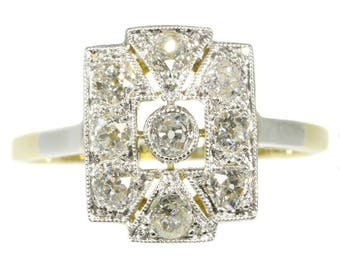 Art Deco diamond engagement ring rectangular 18k yellow gold old mine cut diamonds .90ct vintage diamonds ring 1920s jewelry