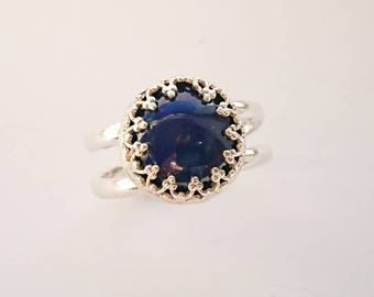 Sterling silver handmade lapis lazuli ring, hallmarked in Edinburgh