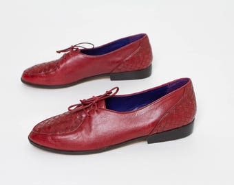vintage 9 West oxblood oxfords women's shoes leather