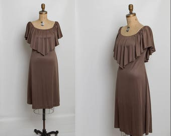 vintage 70s draped dress with capelet