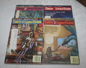 Four 4 Vintage Fantasy & Science Fiction Magazines Sci Fi Fantasy Science Fiction, 1985
