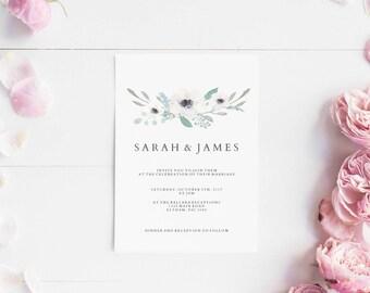 Wedding invitations set printable - Wedding invitation floral - Printable wedding invites set - Digital invitations - Pink flower leaves