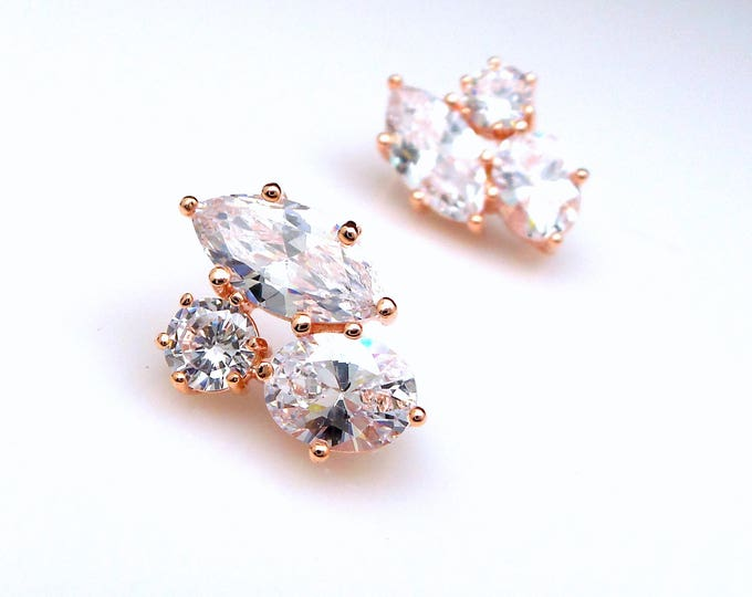 Set of 4 5 6 7 8 9 10 Wedding bridal earrings bridesmaid Jewelry prom pageant party statement three stone shape AAA cz stud post rose gold