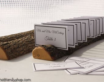 halfround log card holder with rough bark table setting rustic wedding display
