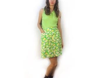 Vintage 60s high waist tennis mini skirt skort // psychedelic scooter skirt // summer boho festival prep beach retro // quantum sportswear