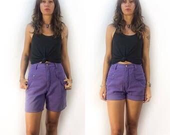 Vintage 90s high waist hi rise Denim Republic jean shorts // size 9/10 // purple lilac grape  // festival summer fall normcore grunge