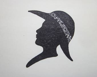 rubber stamp - silhouette woman in wide brimmed hat