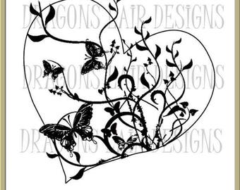INSTANT DOWNLOAD Digital Stamps Floral Heart Digital Stamp by Dragons Lair Designs - Love, Valentine, Hearts, Heart, Marriage, Butterflies