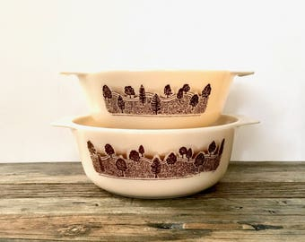 Vintage Rustic Pyrex Dishes with Trees and Rolling Hills Made in England