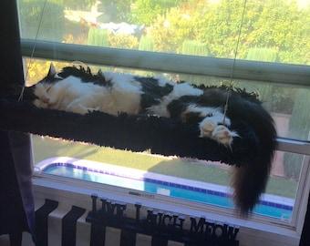 Grey, Black, Faux Fur - Curious Cats Window Perch