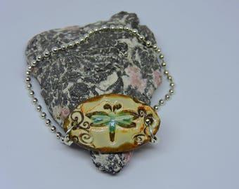 Dragonly Bracelet, Ceramic, Oval Bracelet, Cuff Bracelet, Pottery