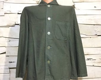 Vintage Dyed German Military Pajama Top (os-mp-3) shawl collar