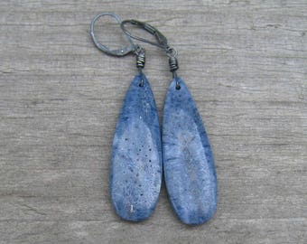 Blue Stone Earrings, Fossil Coral Long Earrings, Natural Stone Jewelry, Sterling Silver, Organic Earthy