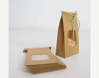 ON SALE Kraft Tin Tie Bags Set of 10 with window