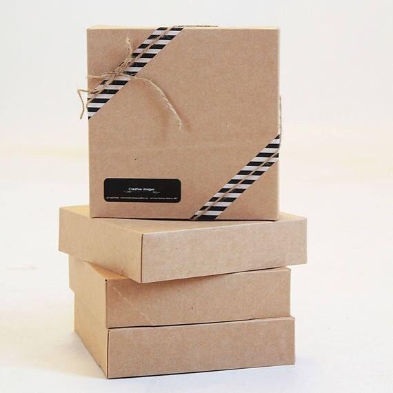 Set of 2- 8 1/2 x 11 1/2 x 1 5/8 Kraft Pinstripe or Solid Kraft Gift Box 2 pc top & bottom | Art presentation box, photography print box