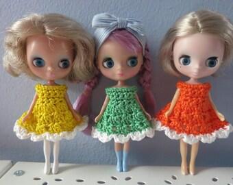 Sale - 3 Pack Of Crochet Cupcake Petite Blythe Dresses