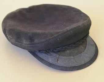 Vintage Greek Fisherman's Cap, Black Fisherman's Hat
