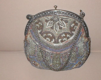Antique Vintage Beaded Tapestry Evening Purse circa 1898