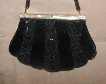 Vintage Black Beaded Evening Purse with  Mother of Pearl