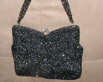 Vintage Black Beaded Evening Purse made in France