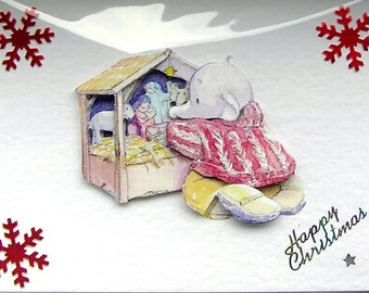 Christmas Card, Happy Christmas Hand Crafted 3D Decoupage Card, Happy Christmas (1893), Layered Card, Xmas Card