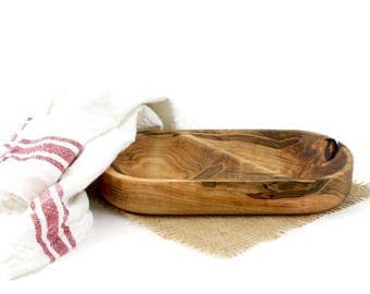Wood Divided Bowl, Small Wood Bowl, Wood Candy Dish , Nut Bowl, Snack Bowl