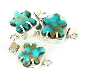 Summer Sale : ) Mcginnis Turquoise Carved Turtle Clasp Sterling New World Gems
