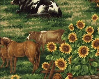Farmland Cows, Horses and Roosters - 1 Yard - More Available - BTY
