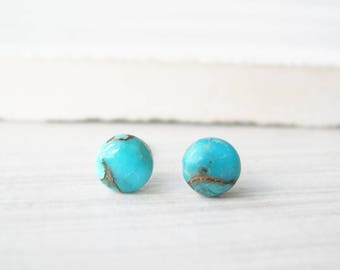 Tiny Turquoise Post Earrings - Nickel Free Studs, Genuine Stone Jewelry, Copper, Titanium, Simple, Small, Petite
