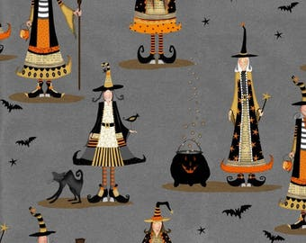 Witchy from Studio E - Full or Half Yard Whimsical Witches and Cauldrons - Halloween Witches on Gray