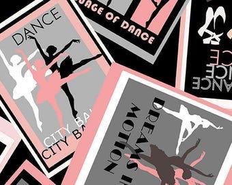 City Ballet from Benartex - Full or Half Yard Ballet Poster om Black - Dance, Ballerinas - Pink, Gray, Black