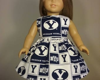 18 inch Doll Clothes Brigham Young University Print Dress fits American Girl Doll Clothes Handmade