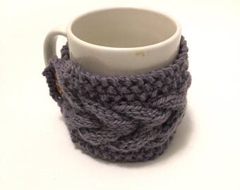 mug cozy knitted mug warmer purple cup cozy
