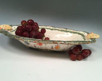 Pottery bowl/summer serving dishes/salad bowl/serving dish/handmade bowl/wedding gift/flowered pottery