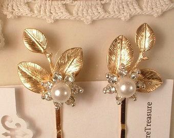 Pearl Rhinestone Gold Leaf Bridal Hair Pins Pair Vintage Wedding Bobby Pins Set 2 Bridesmaid Jewelry Gift Gold Hair Comb Wedding Accessories
