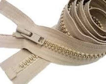 REDUCED///  72 inch heavy duty YKK khaki zipper with plastic teeth