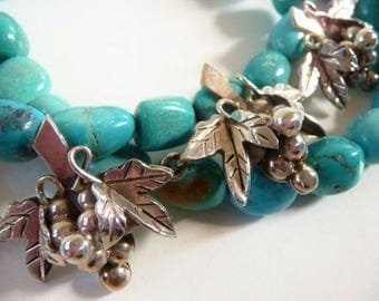 Vintage Mexican sterling silver grapes and leaves bracelet   hand made Mexican silver