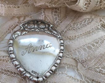 Vintage Sterling Engraved Heart Medallion. Anna, Personalized, script,830s