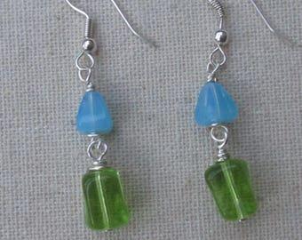 blue milkglass and kelly green glass dangle earrings