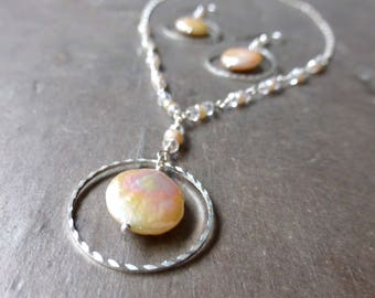 Ring-a-Rose SET earrings pendant necklace blush pink coin pearl silver tone circle faceted clear glass peach freshwater pearls