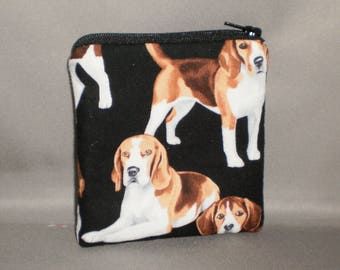 Beagle - Coin Purse - Gift Card Holder - Card Case -Small Padded Zippered Pouch - Mini Wallet - Dog