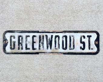 Vintage Greenwood Street Sign